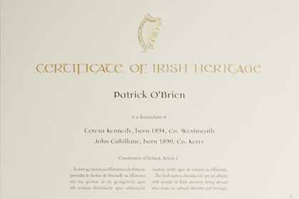 Certificate Of Irish Heritage Abandoned Eastman S Online