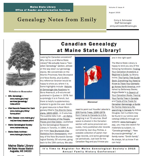 Canadian Genealogy at the Maine State Library   Eastman's ...