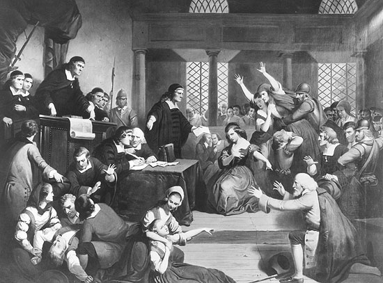 Circa 1692, The trial of George Jacobs for witchcraft at the Essex Institute in Salem, Massachusetts. (Photo by MPI/Getty Images)