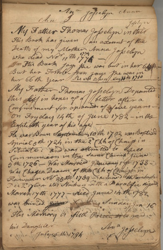 A page from the 18th-century diary of Thomas Josselyn (1702-1782), deacon in Hingham, Mass. – one of the NEHGS collections that will be included in the project. (Diary of Thomas Josselyn, 1743-1775, NEHGS R. Stanton Avery Special Collections, Mss C 3489.) - Click on the image to view a larger version.