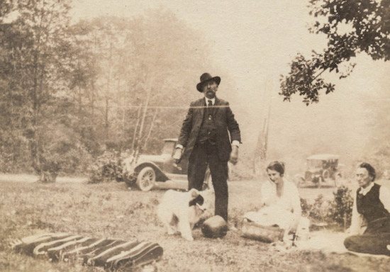 Family having a picnic in the woods