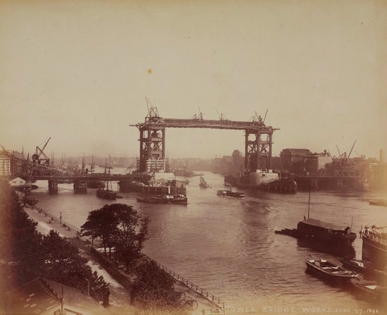 Tower Bridge under construction in 1892
