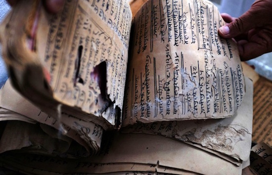 A 300 years old scroll has handwritten data written in both Hindi and Urdu.