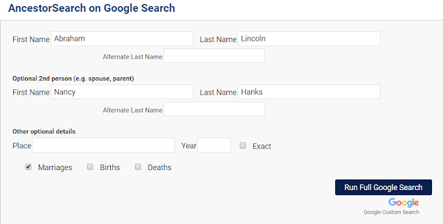 AncestorSearch on Google Search Abe Lincoln example