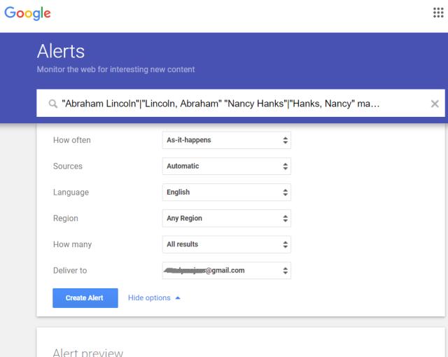 AncestorSearch Google Alerts setup