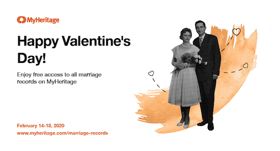 MyHeritage Offers Free Access to Marriage Records for Valentine's Day