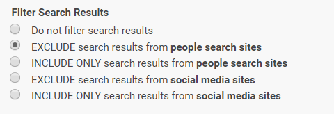 AncestorSearch and PeopleSearch Filter Search Results options